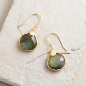 Small Gold Labradorite Teardrop Earrings