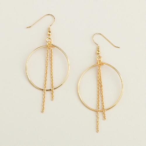 Gold Fringe Hoop Drop Earrings