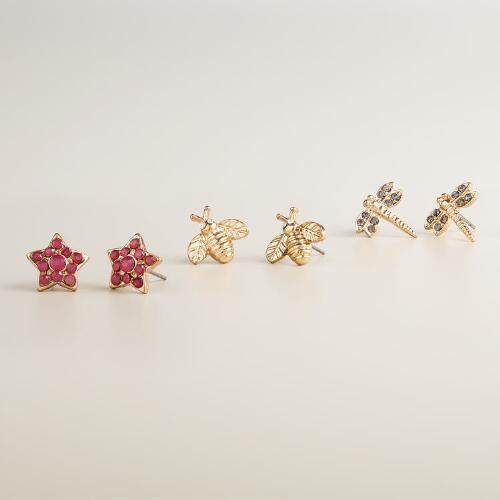 Gold Insect Stud Earrings, Set of 3