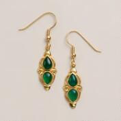 Gold and Green Onyx Drop Earrings