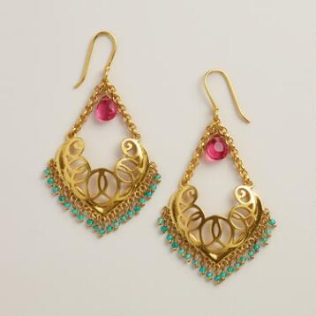 Gold with Fuchsia and Turquoise Bead Chandelier Earrings