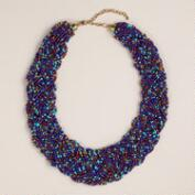 Blue Braided Multi-Strand Bead Necklace