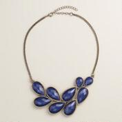 Blue Bead Bib Statement Necklace