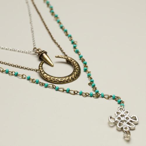 Silver and Gold 3-Layer Turquoise Bead Charm Necklace