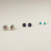Turquoise, Purple and Blue Trio Stud Earrings