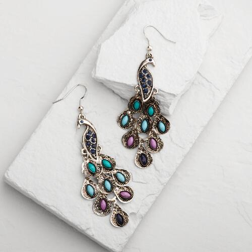 Silver Peacock Drop  Earrings