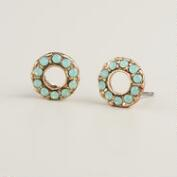 Round Pacific Opal Stud Earrings