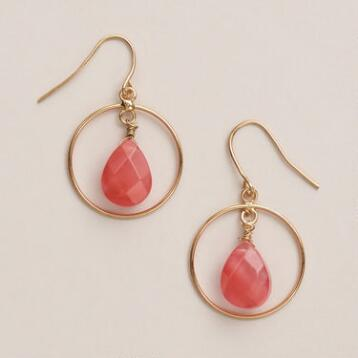 Coral Stone Hoop Earrings