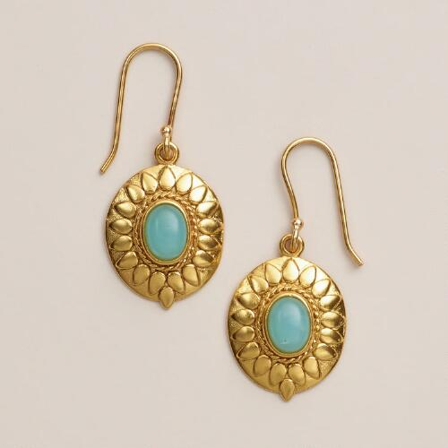 Etched Gold and Aqua Stone Drop Earrings