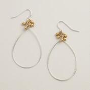 Silver Teardrop and Gold Ball Earrings