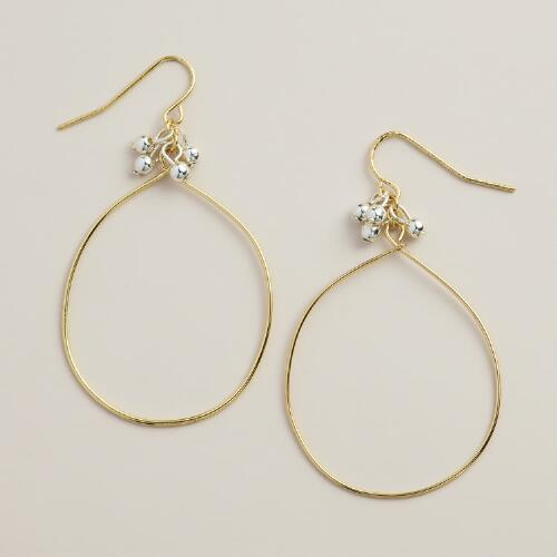 Gold Teardrop and Silver Ball Earrings