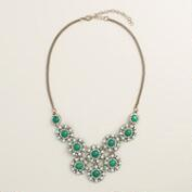 Gold and Green Stone Statement Necklace