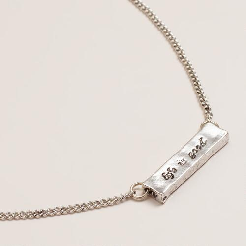 Life Is Good Silver Pendant Necklace