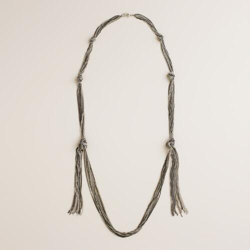 Silver Multi Chain Knot Necklace