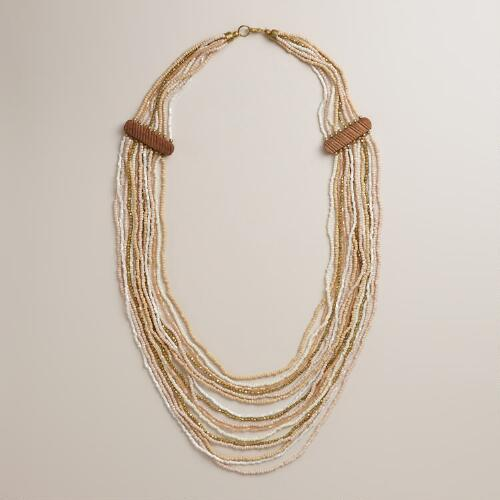 Blush and Ivory Multi-Strand Wood Necklace