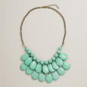 Mint Bauble Teardrop Bib Necklace