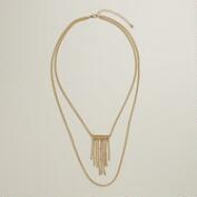 Gold Double Layer Chain with Fringe Necklace