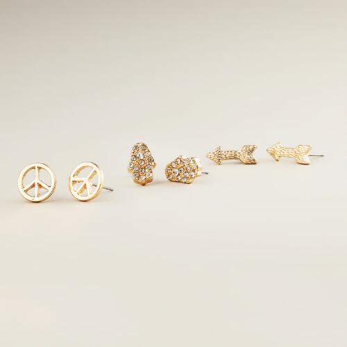 Arrow and Peace Sign Trio Stud Earrings