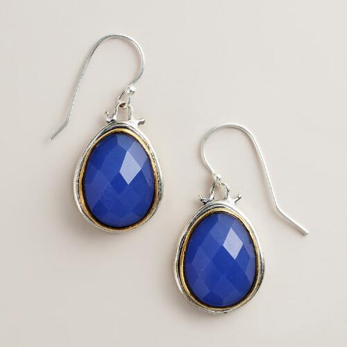 Blue Faceted Mixed Metal Teardrop Earrings