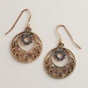 Gold FIligree Drop Hoop Earrings