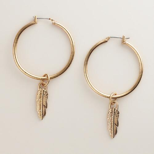 Gold Feather Hoop Drop Earrings
