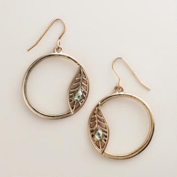 Gold Asymmetrical Feather Hoop Earrings