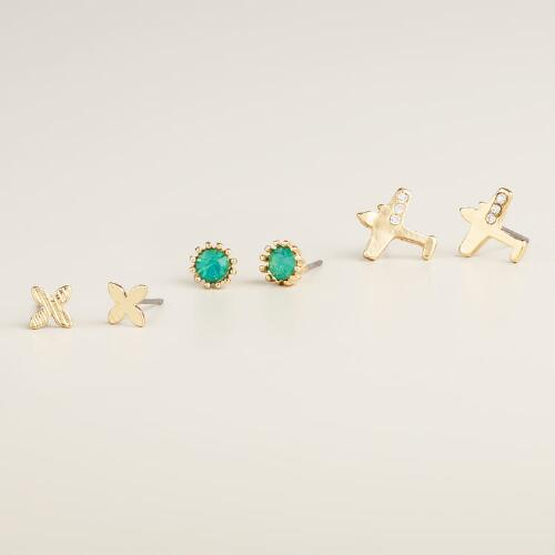 Jet Setter Stud Earrings, Set of 3