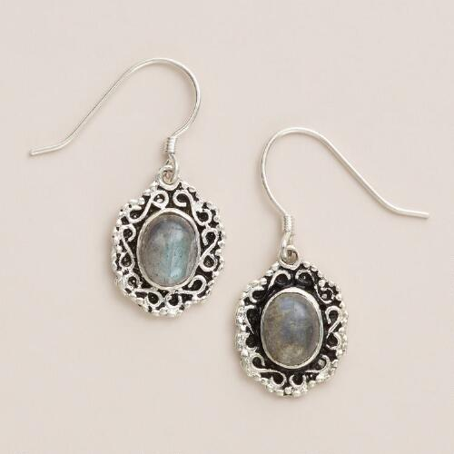 Silver with Labradorite Scroll Edge Drop Earrings