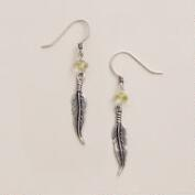 Silver and Lemon Quartz Feather Drop Earrings