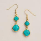 Gold and Turquoise Double Drop Earrings
