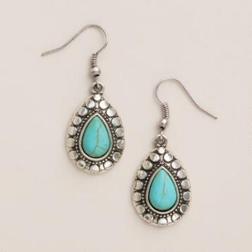 Silver Etched Turquoise Teardrop Earrings