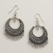 Silver Tribal Drop Hoop Earrings