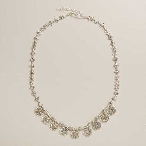 Silver Tribal Coin Necklace