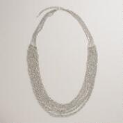 Twisted Silver Multi-Strand Beaded Necklace