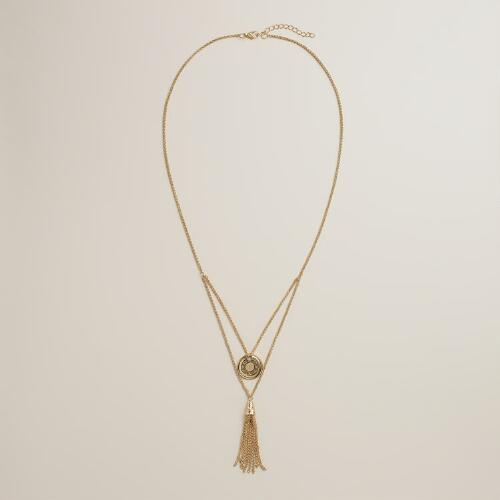 Gold Disc and Tassel Layer Necklace