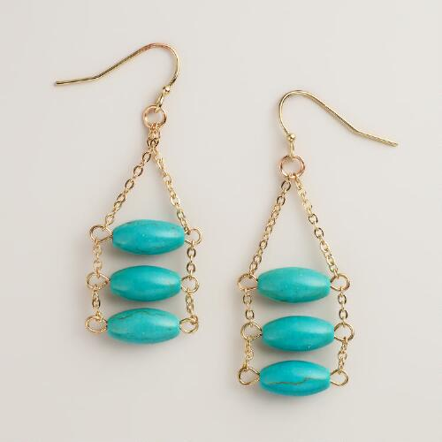 Gold 3-Tier Turquoise Drop Earrings