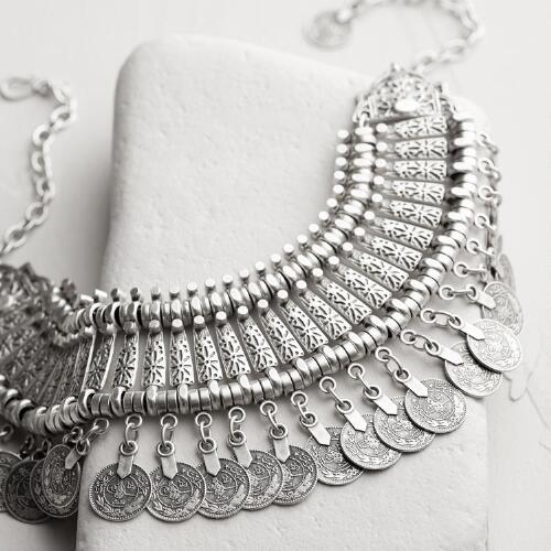 Silver Coin Statement Necklace