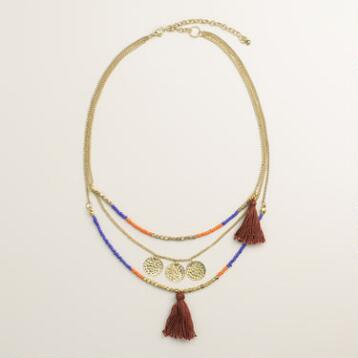Gold Coin Tassel Layer Necklace