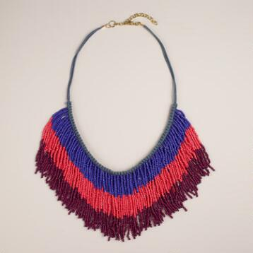 Blue and Wine Beaded Fringe Necklace