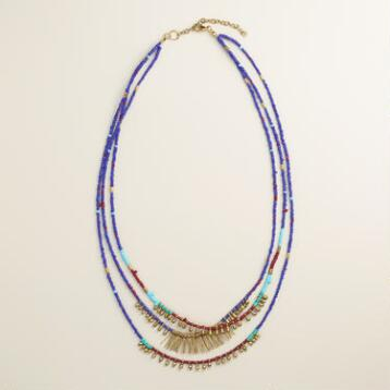Blue and Turquoise Layered Bead Fringe Necklace