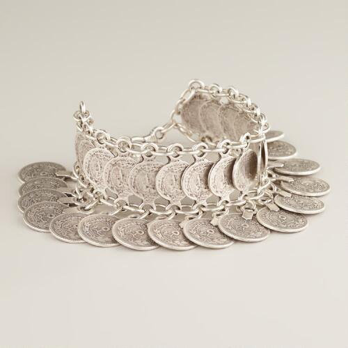 Silver Coin Dangle Bracelet