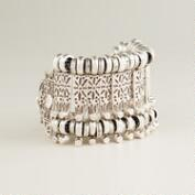Silver Etched Row Bracelet