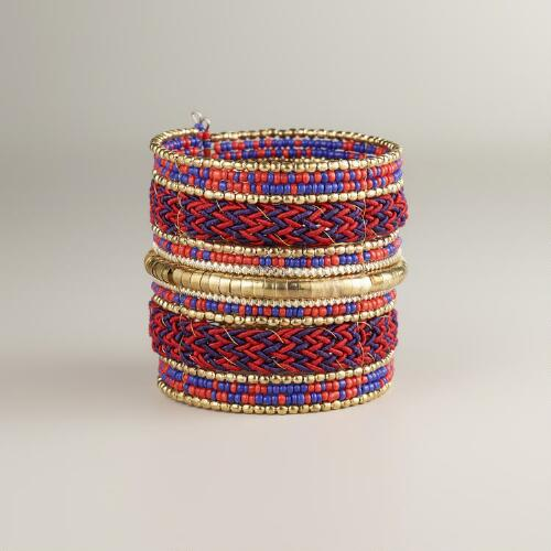 Gold and Red Thread Cuff Bracelet