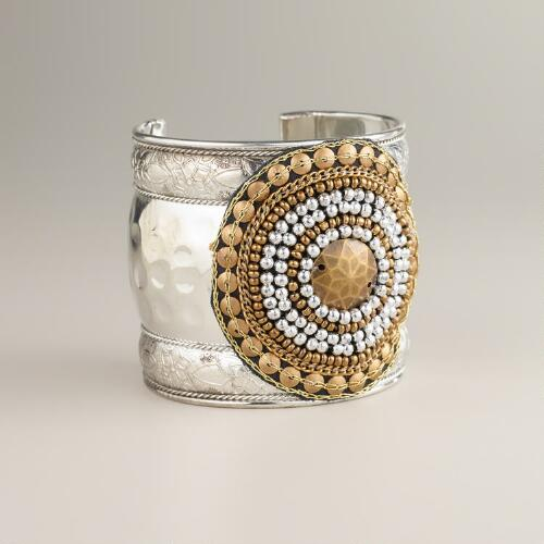 Gold and Silver Tribal Cuff Bracelet