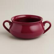 Magenta Double-Handled Soup Crocks, Set of 4