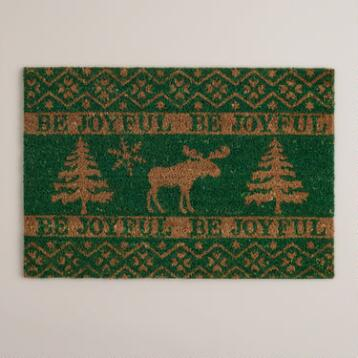 'Be Joyful' Moose Coir Doormat