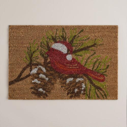 Holiday Bird Coir Doormat