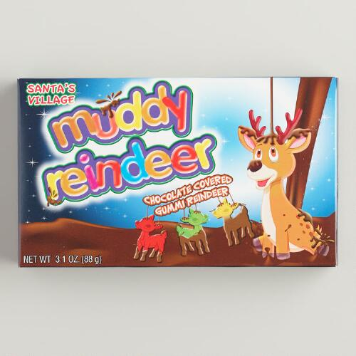 Muddy Reindeer Chocolate Gummy Candy, Set of 12