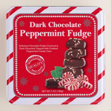 Dark Chocolate Peppermint Fudge Candy Tin