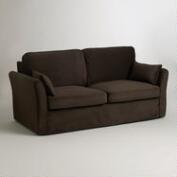 Chocolate Brown Velvet Loose-Fit Luxe Sofa Slipcover